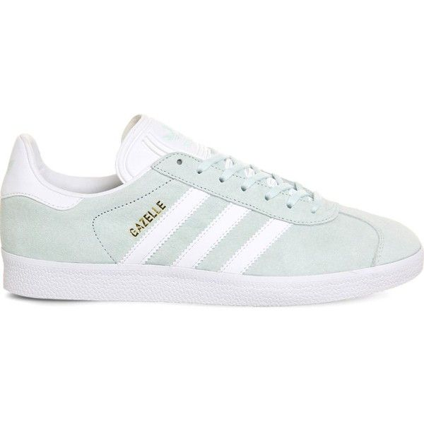 ADIDAS Gazelle suede trainers ($100) ❤ liked on Polyvore featuring shoes, sneakers, ice mint white, lace up shoes, suede shoes, mint green shoes, white trainers and suede sneakers