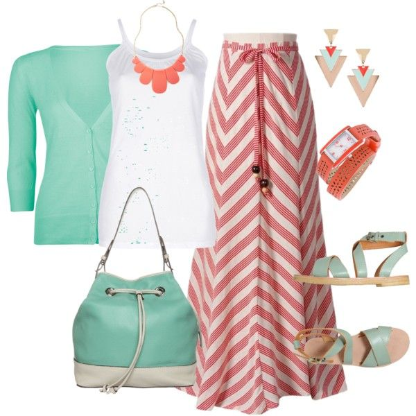 Coral and mint by idbutterflykisses on Polyvore