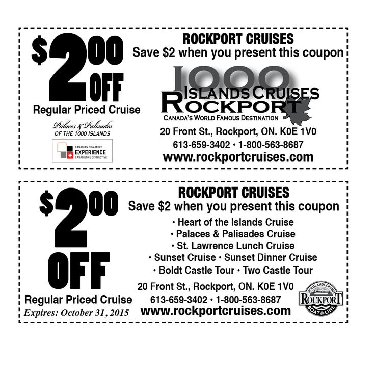 1000 Islands Cruises Rockport - Summer 2015 Coupon