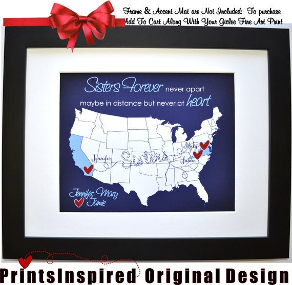 Gift for Sister Birthday: Quote Personalized by Printsinspired