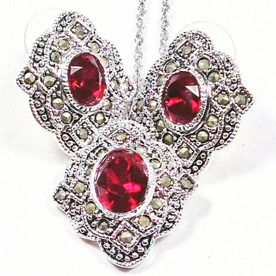 Vintage Garnet Necklace Earrings Set w/ Marcasite, Estate Jewelry by NorthCoastCottage Jewelry Design & Vintage Treasures. Stately yet dazzling, this vintage garnet and marcasite necklace and earrings set is in mint condition. Be assured, if this is a gift, the recipient will be