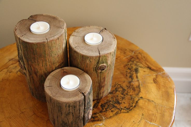 Cedar Wood Candle Holder Set / Trio (stained)! Get 10% off with coupon code: PINTEREST10 http://etsy.me/1UjplQz