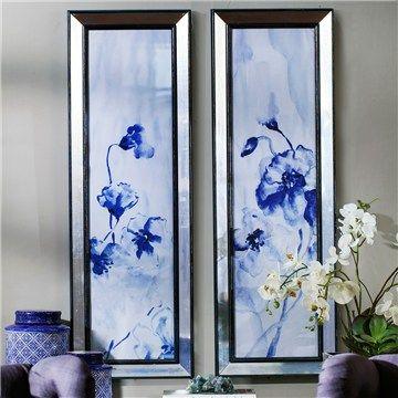 Webster 2 Piece Mirror Framed Blue Flower Wall Art Set