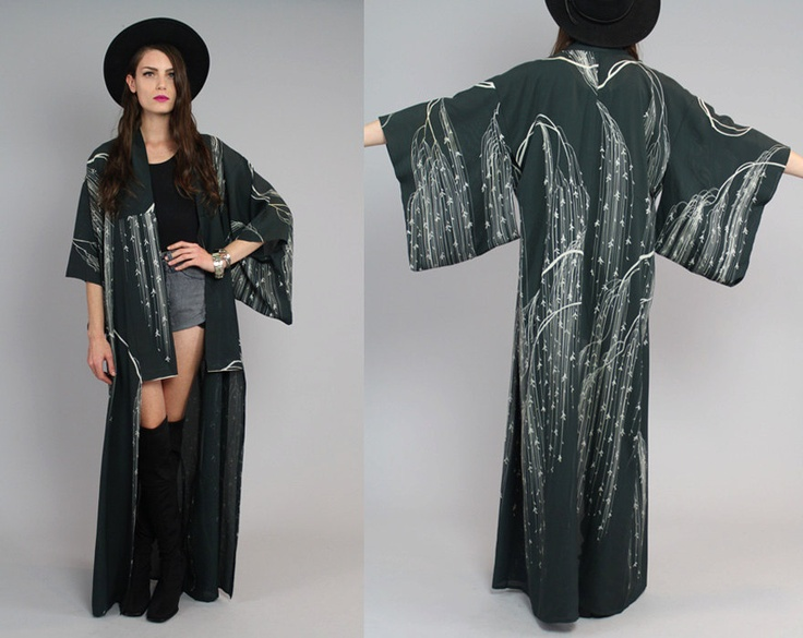 Vtg Antique Asian Japanese Kimono Willow Tree Duster Coat OS. $148.00, via Etsy.