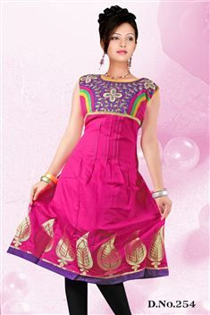 Pink casual wear embroidered anarkali style kurti @ just Rs. 810