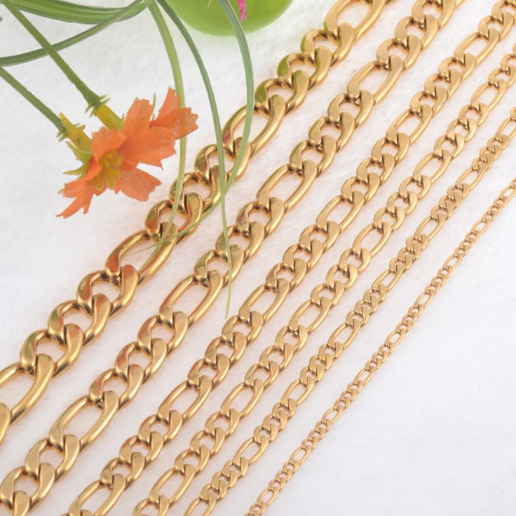 Gold Plated 6.0mm Width Stainless Steel Figaro Chain Men Curb Link Chains