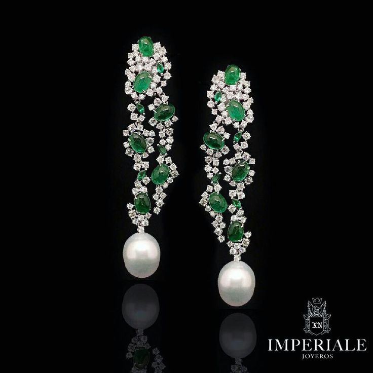 Outstanding Earrings. Cabochon Emeralds & Fine Diamonds, accented by two unique South Sea Pearls. Exclusively at Imperiale. #GeneracionesDeExcelencia