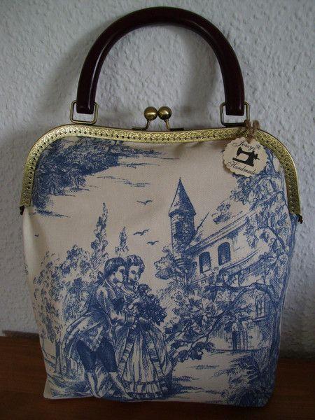 Joisys® Handtasche mit Bügel *Marie* Toile de Jouy von Joisys® Bügeltaschen auf DaWanda.com