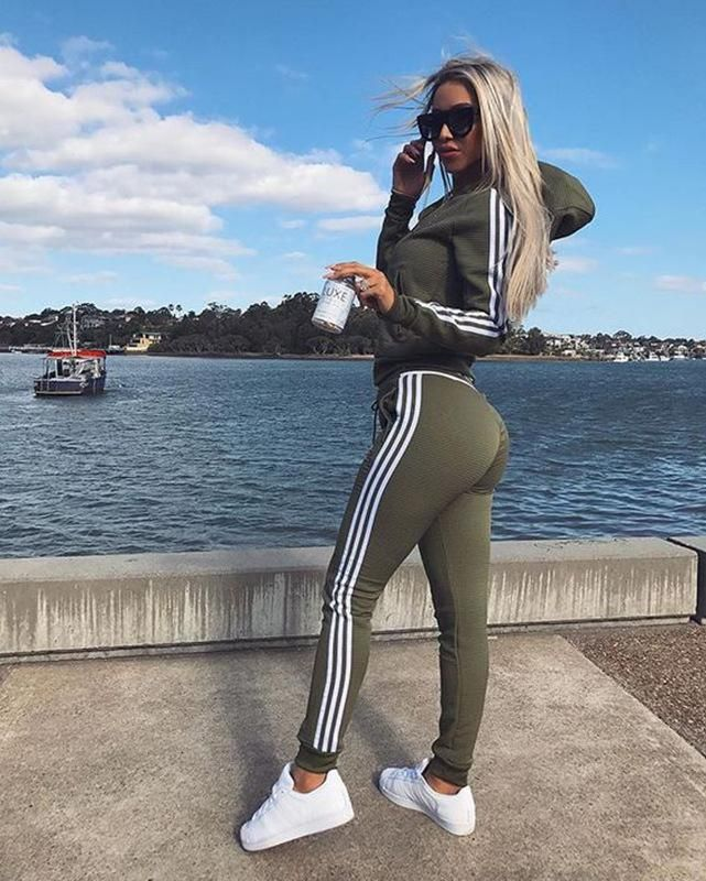 Hoodie Two Pieces Set Sporty Outfits Fashion Adidas Pants Outfit