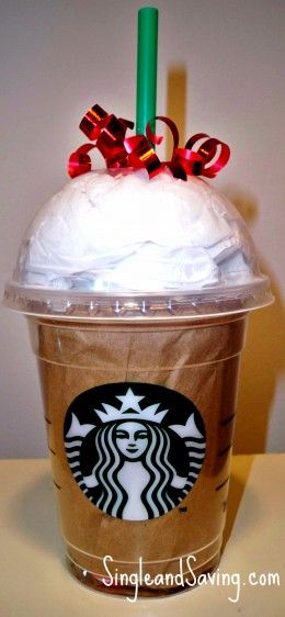 This is one of the many awesome gift card wrapping ideas! YUM! Starbucks!