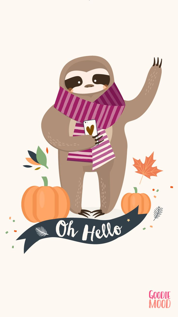 Wallpaper Iphone 6 October 2016 Calendar Funny Sloth