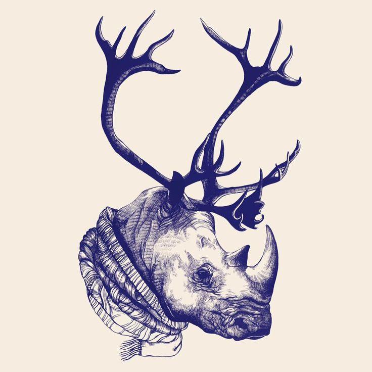 Xmas Rhino. Illustration Clémence Thienpont for Summer Camp Home Equipment
