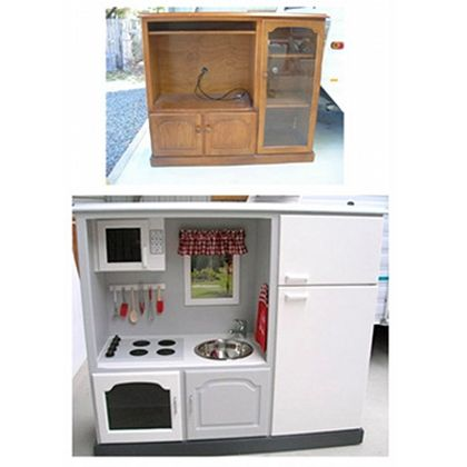 DIY Play Kitchen - from entertainment center to play kitchen... Another inspiration. I want to make one for little cousins!