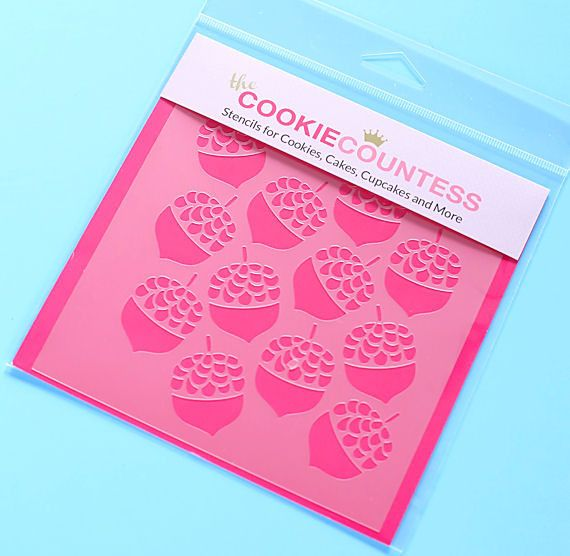 Use the acorn cookie stencil to decorate cookies, chocolate covered Oreos, fondant cupcake toppers and more! Stencil on the designs with royal icing, airbrushing or even our edible food paint powders.