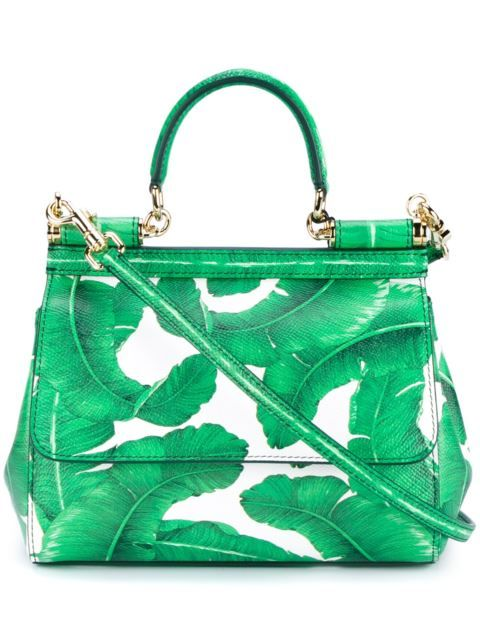 Dolce & Gabbana Leather Leaf Print Satchel