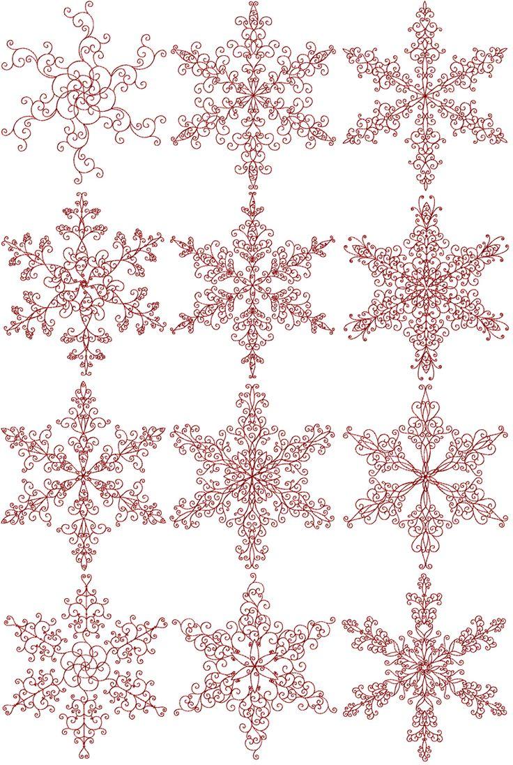 Redwork snowflakes