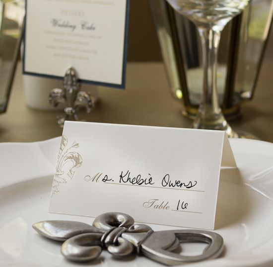 Fleur De Lis Table Setting With Bottle Opener Favor