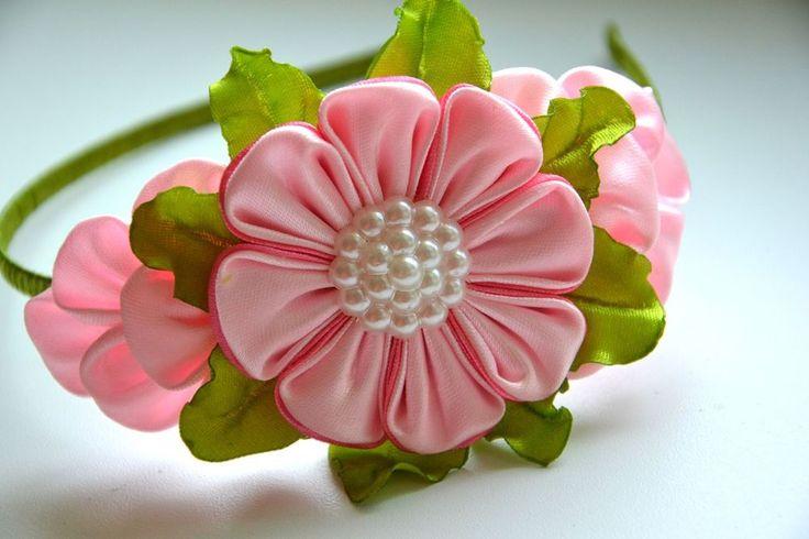 Headband for girls green, pink flower handmade bobbles satin ribbons #Handmade