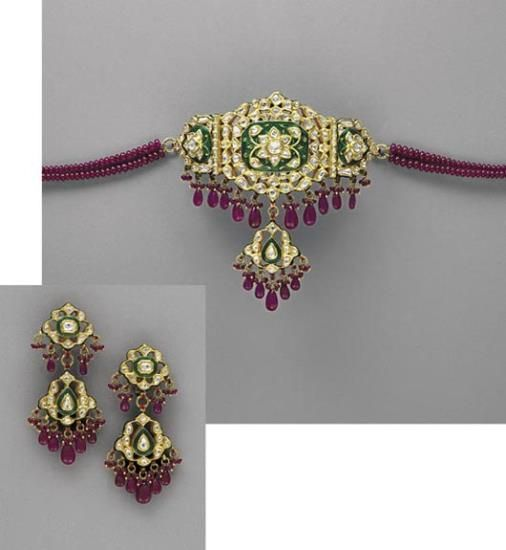 A Modern Indian Diamond Ruby and Enamel Necklace and Earrings Suite