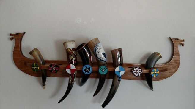 Viking ship drinking horn holder designed and built by my fiance. Eight holder spits in all ,  Delaney Wade
