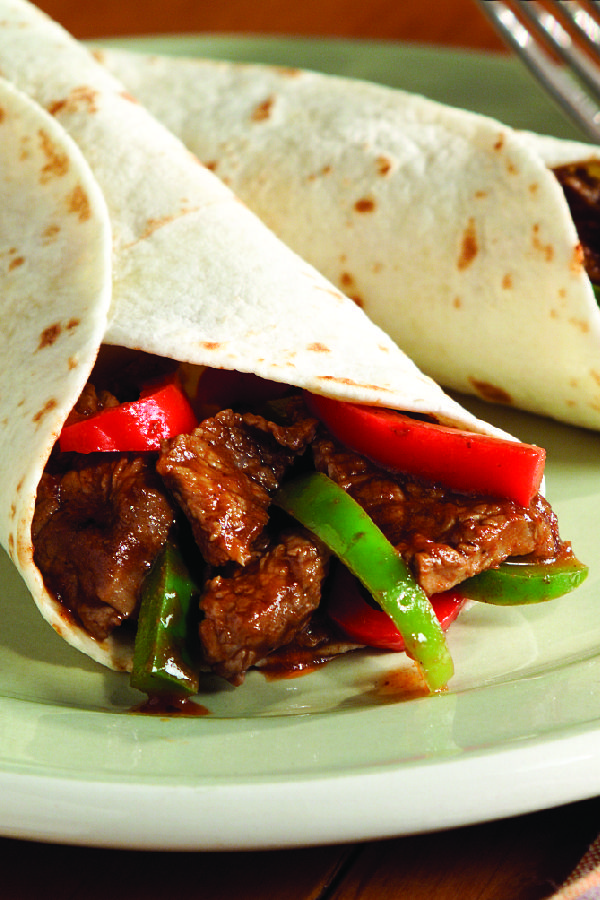 A.1. Pepper Steak – Thinly sliced flank steak, bell peppers, sherry, and steak sauce are cooked and served in warm tortillas for an easy, delicious dinnertime recipe.