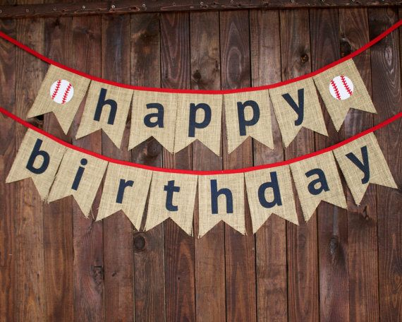 Happy birthday baseball banner photo prop backdrop decoration for first birthday party by MsRogersNeighborhood Etsy shop