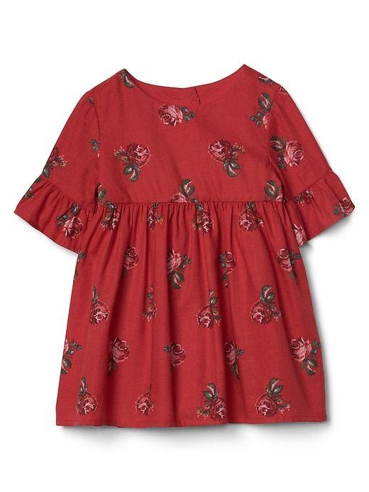 Gap Baby Rose Floral Bell Dress Modern  Red