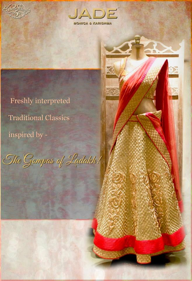 JADE's Luxe Gold Lehenga Ensemble inspired from 'Gompas of Ladakh'. #jadebyMK #jade_byMK #jade #indian #bride #gold #weaves #classic #lehenga