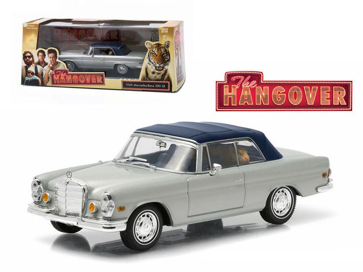 1969 Mercedes 280 SE Convertible Top Up Damaged w/ Tiger The Hangover 1/43  #Greenlight #Mercedes