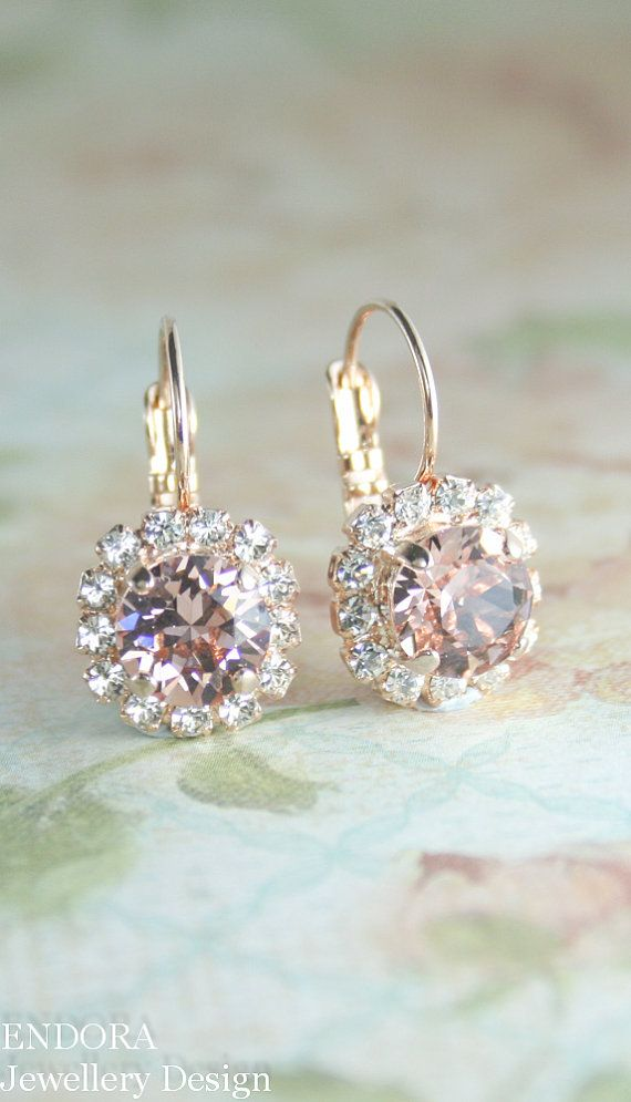 Blush crystal earrings Rose gold bridal by EndoraJewellery on Etsy