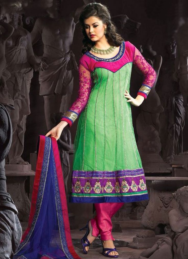 Intrinsic Lace Work Green and Hot Pink Net Anarkali Suit