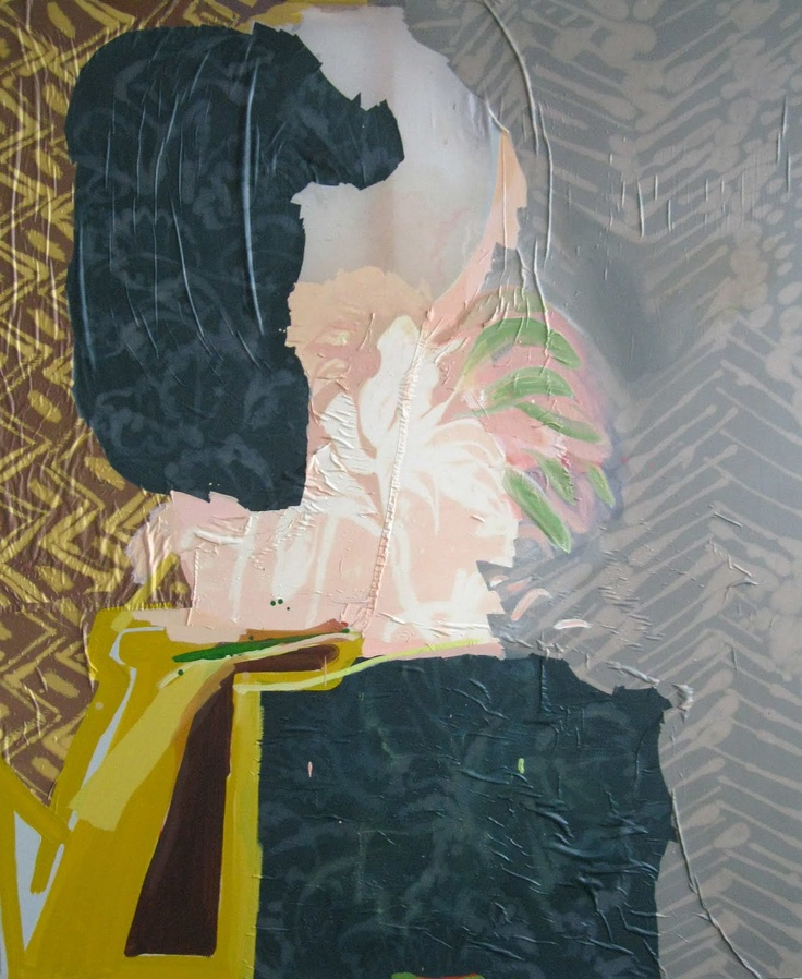 Lauren Luloff - Oil on bleached bed sheets and fabric.