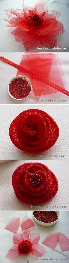 Как сделать цветок из фатина и змейки своими руками   Fusion of Styles