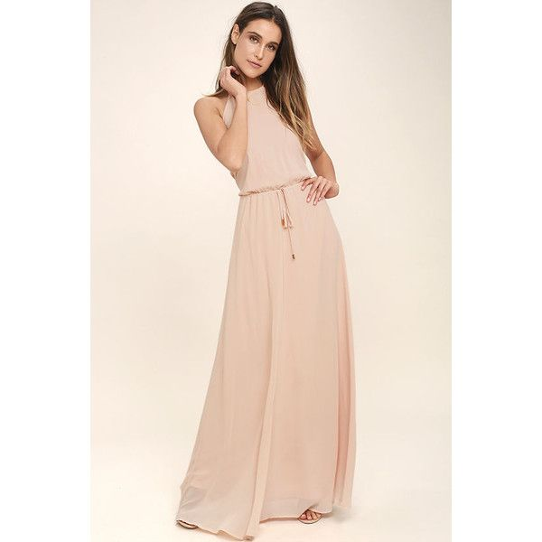 Be Mellow Peach Maxi Dress ($86) via Polyvore featuring dresses, beige, halter dress, pink maxi skirt, halter top, maxi skirt and tie-dye maxi dresses