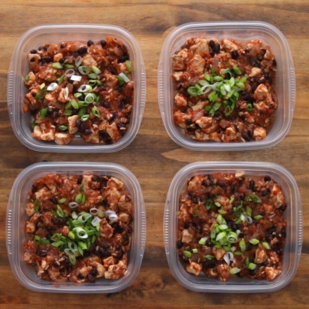Meal-Prep Chicken Burrito Bowls For 4 (Under $16)   make your own pico de gaillo by dicing onions and tomato with a lil jalepeno, lime juice and cilantro.