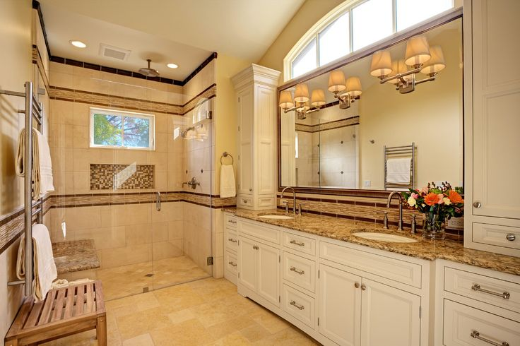 Decor above cabinets bathroom transitional with towel warmer off white