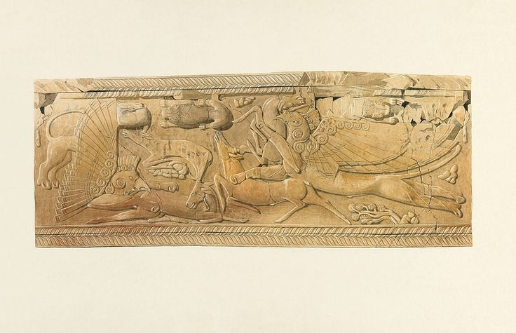 Agora Image: Watercolor by Piet de Jong of a carved ivory pyxis; scene depicts griffins attacking deer.