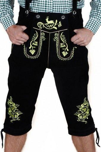 Herren #Trachten Kniebundhose aus feinem Rindsvelourleder, Schwarz #lederhosen Shop @dirndlshop