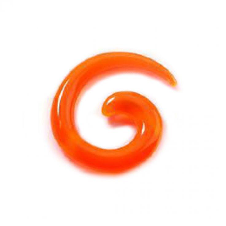 Taper, dilatador acrílico en espiral naranja. Varios tamaños. Ideal para usar en tu dilatación de lóbulo, en tu piercing de oreja. Expande tu oreja con este cuerno