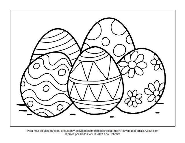 10 Lindos dibujos de pascua de resurrección para colorear en familia: Huevitos de pascua