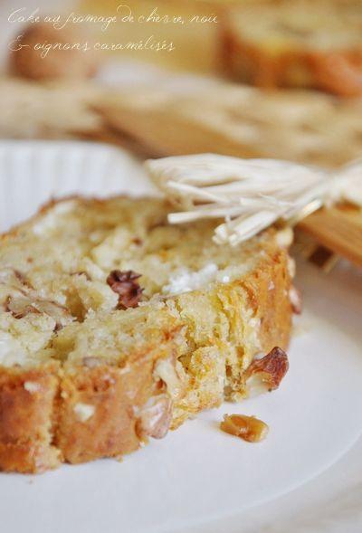 cake salé fromage de chèvre, noix et oignons caramélisés....