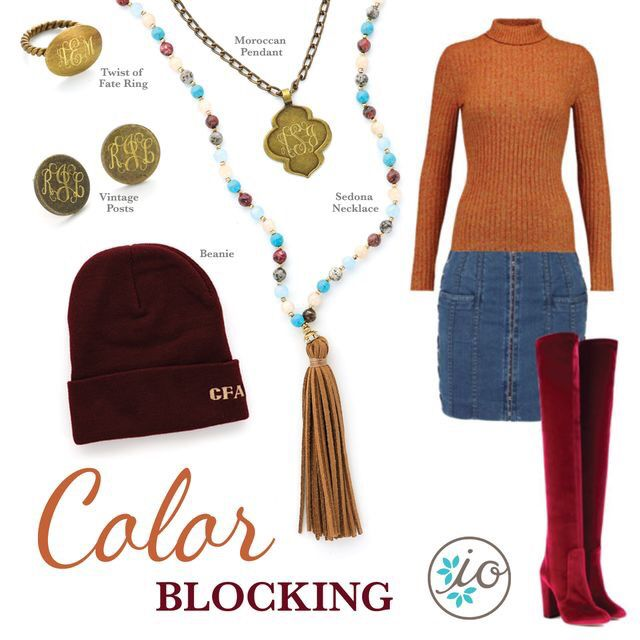 Color block outfit inspiration with accessories from Initial Outfitters!! #ootd #monogram #fallfashion