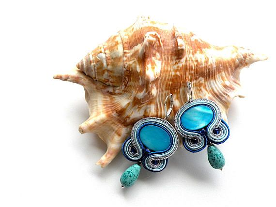 Earrings-Soutache Jewelry-Hand Embroidered Palm Beach