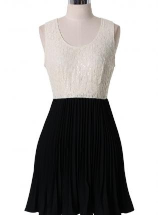 Black and Ivory Dress with Crochet Bodice & Pleated Skirt,  Dress, crochet  pleated skirt  sleeveless dress, Casual