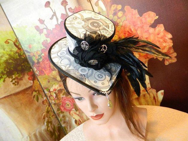 Zylinder - Damenhut grau weiß Steampunk Zahnräder Hut Hat - ein Designerstück von Nashimiron bei DaWanda