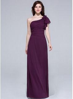 A-Line/Princess One-Shoulder Floor-Length Chiffon Bridesmaid Dress With Ruffle Beading Flower(s) (018043623) - JJsHouse