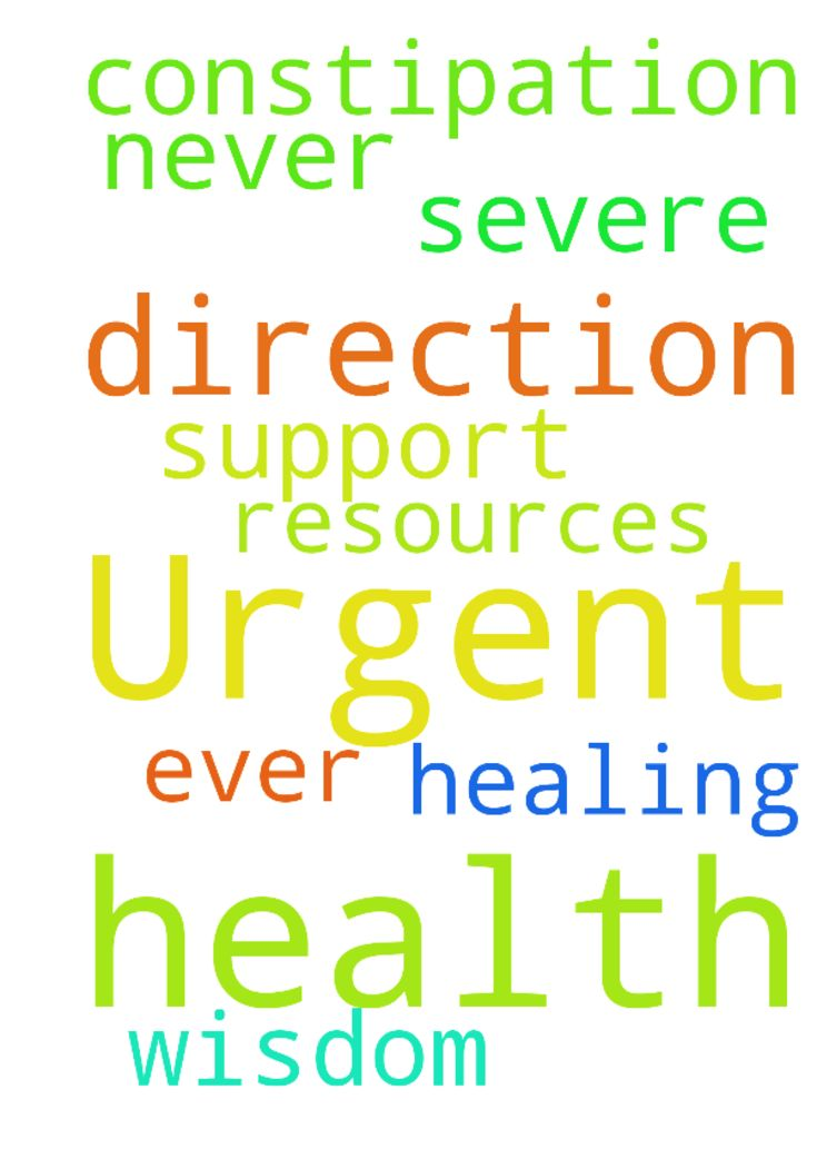 Urgent prayer for health -  Urgent prayer for health! �I have severe constipation, which I have never ever had before please pray for God's healing and God's wisdom. Please pray for his direction and for the support and resources than I need. �Thank you! Amen�  Posted at: https://prayerrequest.com/t/jaq #pray #prayer #request #prayerrequest