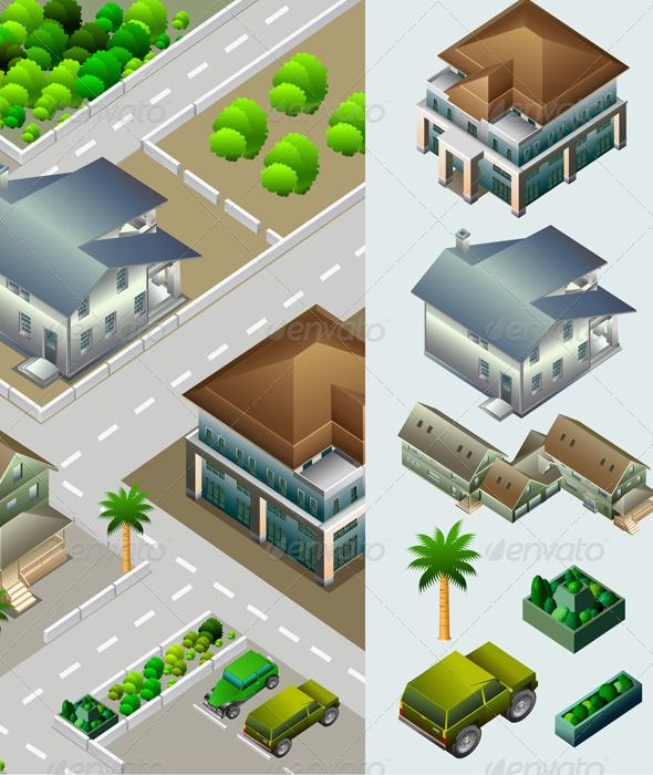 Isometric of Building and City