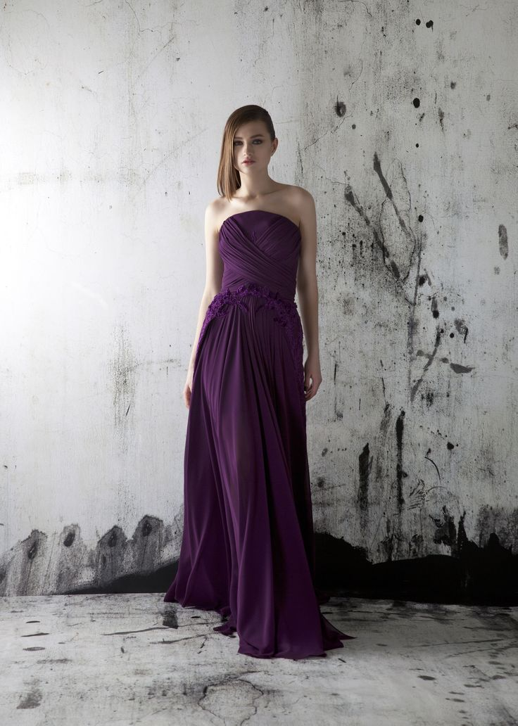 Strapless evening gown occasion dress purple fashionable