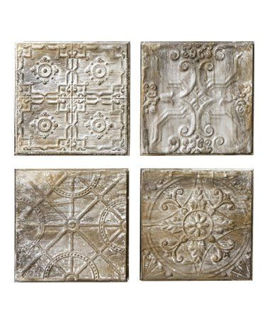 Another great find on #zulily! Vintage Embossed Tin Tile - Set of